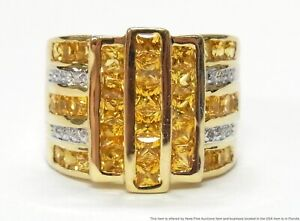 Brand New 3.52ctw Yellow Natural Sapphire 14k Gold Diamond Ring Ultra Wide Band