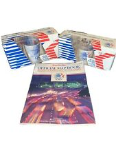 VINTAGE LOT 1984 LOS ANGELES OLYMPICS  TUMBLER GLASSES USA & OFFICIAL MAP BOOK