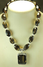 Statement Smoky Quartz & Pearl Necklace Sterling Silver Wedding Mother of Bride