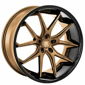 "(4) 22"" Lexani Wheels R-Twelve Satin Bronze Center w Black Lip Rims (B45)"