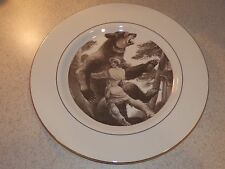 "PICKARD CHINA COLLECTOR PLATE DAVY CROCKETT 10 /4"" GOLD TRIMMED EXCELLENT"