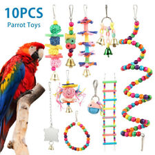 New listing 10Pc Parrot Toys Small Ladder Stand Cages Budgie Cockatiel Cage Bird Toy Sets