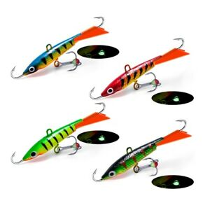 4pcs Ice Jigs 2.76in/7cm Lead Jigging Fishing Lures Bait Hook Crankbaits Trout