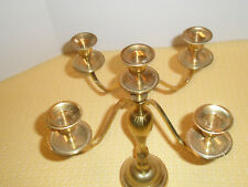 Vintage Candelabra 5 Candle Holders Brass Plated India
