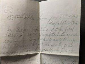 1863 UNION HOSPITAL No. 6, NASHVILLE, TN CIVIL WAR Army Cover w/ soldier letter