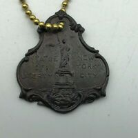Vtg Statue Of Liberty New York City FOB Keychain Antique     F3