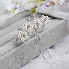 Wedding Crystal Pearl Flower Hair Pins Elegant Bridal Bridesmaid Veil Jewelry