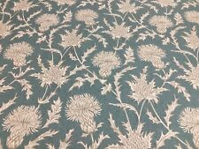 Star Thistle Toile Soft Teal Foral Cotton 140cm wide Curtain/Craft Fabric