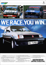 MG METRO TURBO RETRO POSTER A3 PRINT FROM CLASSIC 80'S ADVERT