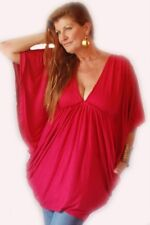 red shirt blouse top butterfly graceful empire jersey L XL 1X one size ZD916