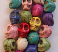 30pcs Mixed color Dyed Cranial skeleton Turquoise beads spacer charms 12mm DF611