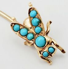 Vintage 14k Yellow Gold & Turquoise Insect Fly Bee Bug Stick/Hat Pin, 1.1g