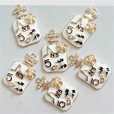 Rhinestone Perfume Bottle Pendants 41x24mm Camellia Jewelry Making Supplies 6pcs