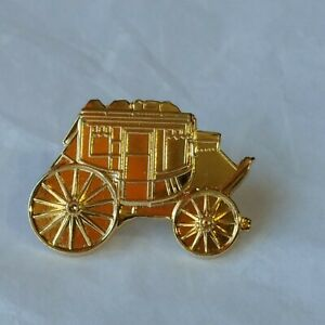 Gold Colored Metal Stagecoach Lapel Hat Pin Western Transportation