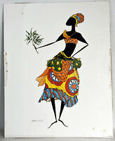 "20"" Vintage Print Augusta Asberry BAGA Woman Traditional Tribal Black Americana"