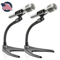 Pyle PMKS8X2 Adjustable Desktop Microphone Stand with Non Slip Mic Clip (Pair)