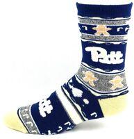 Pittsburgh NCAA Gingerbread Christmas Crew Socks Navy Grey and Gold Size MEDIUM