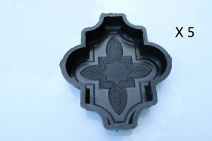 Set of 5 Plastic Molds/Forms To Make Beautiful Concrete Paver Stones For Patio
