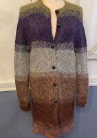 One Size Women's Knit Muted Ombre Metallic Long Cardigan Soft