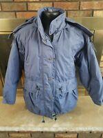 Eddie Bauer Goose Down Winter Jacket Hopded Coat Full Zip Womens Sz Medium Blue
