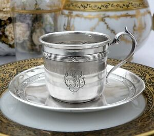 Antique French Sterling Silver Cup and Saucer by Roberge Paris
