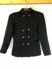 """MENS SUPERDRY PEACOAT COAT SIZE SMALL Black 30"""" Top To Tail Jacket"""