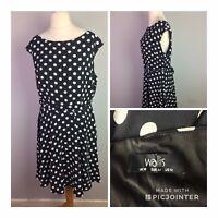 Wallis Size 16 Polka Dot Fit & Flare Dress Rockabilly Retro