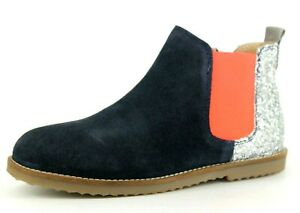 Boden Older Girls UK 3 EU 36 Navy Blue Suede Zip Up Glitter Chelsea Ankle Boots