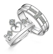#9012 Silver Plated Prince Princes Imperial Crown Adjustable Couple Ring 2 piece