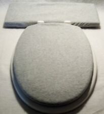 Solid LIGHT GRAY fleece Elongated Toilet Seat Lid and Tank Lid Cover Set