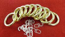 10 Stk Stilgarnitur Ringe für 28mm Stange Messing Glanz inkl. Gardinenhaken