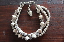 Beautiful Handmade White Turquoise Cube and Silver Bead 3 Layer Beaded Bracelet