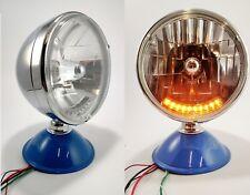 "Pair Chrome Dietz 7"" Crystal Headlights Lamps w/ 10 LED Amber Turn Signal Lights"