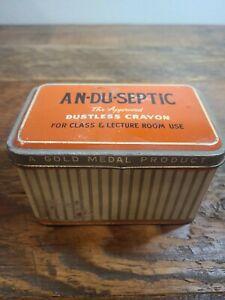 Vintage An-du-septic Dustless Crayon Chalk Tin