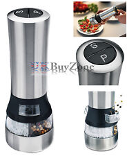 2 in 1 Stainless Steel Electric Salt & Pepper Mill Grinder Shaker Combi Set