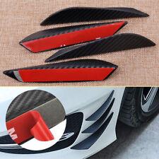 4pcs Carbon Fiber Texture Bumper Protector Body Spoiler Fins Lip Canards Solid