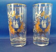 PAIR of VINTAGE WEDDING GLASSES - BRIDE & GROOM - GOLD TRIM & DECORATION -LIBBEY