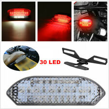 Smoke 30LED Motorcycle ATV Brake License Plate Tail Light Stop Running + Bracket
