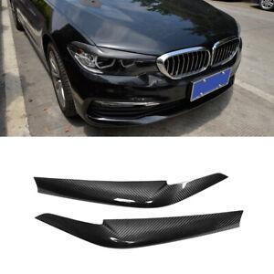 Fits BMW 5Series G30 G31 G38 F90 M5 17-18 Headlight Eyebrow Eyelid Carbon Fiber