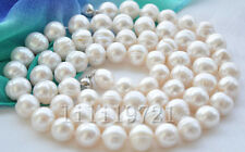 "New Genuine 34"" 12mm white round freshwater pearl necklace"