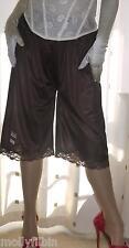 Brown silky soft nylon lace pantie slip~pettipants~culottes~bloomer 20~22 no vpl