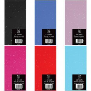 1 X Pack 6 Sheets Glitter Tissue Paper Wrap Roll  Gift Wrapping Various Colours