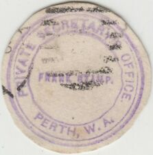Frank stamp Private Secretary's Office Perth Western Australia in violet