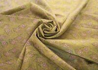 Vintage Saree 100% Pure Silk Crafts Fabric Indian Green Sari Sarong Fabric Wrap