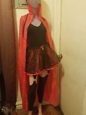 Red Cape w/ Stand Up Collar Adult Halloween Costume Masquerade Ball tulle skirt