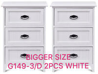 Set Of 2 Nightstand Storage Wood End Table Bedroom Side Bedside White W/2 Drawer