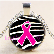 Breast Cancer Ribbon Cabochon Glass Tibet Silver Chain Pendant Necklace#CA49