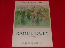 [ART XXe] RAOUL DUFY RARE AFFICHE ORIGINALE 1969 LITHO MOURLOT Chevaux Petrides