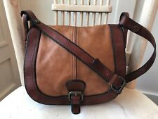 FOSSIL VINTAGE REISSUE Two Toned Cognac Leather Crossbody Messenger Purse Bag