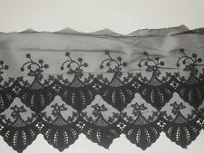 """1 yard in 7"""" width black color high end crochet poly cotton & tulle trim"""